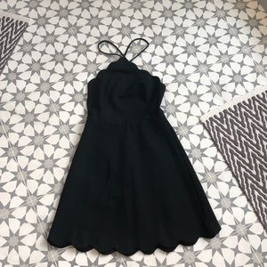 Scalloped edge little black dress